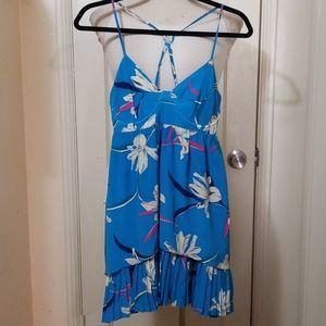 YUMI KIM silk blue floral underwire mini dress
